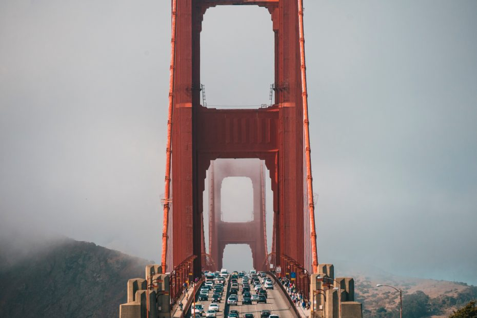 lot of vehicle on Golden Gate Bridge